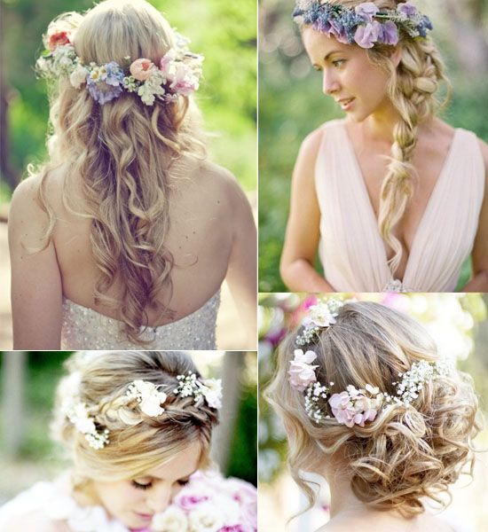 Wedding hairstyle with flowers as